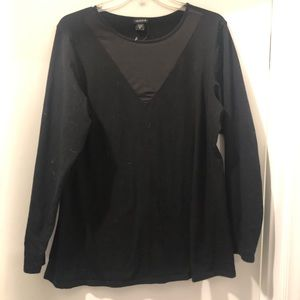 Fitted black top with mesh cutout NWOT